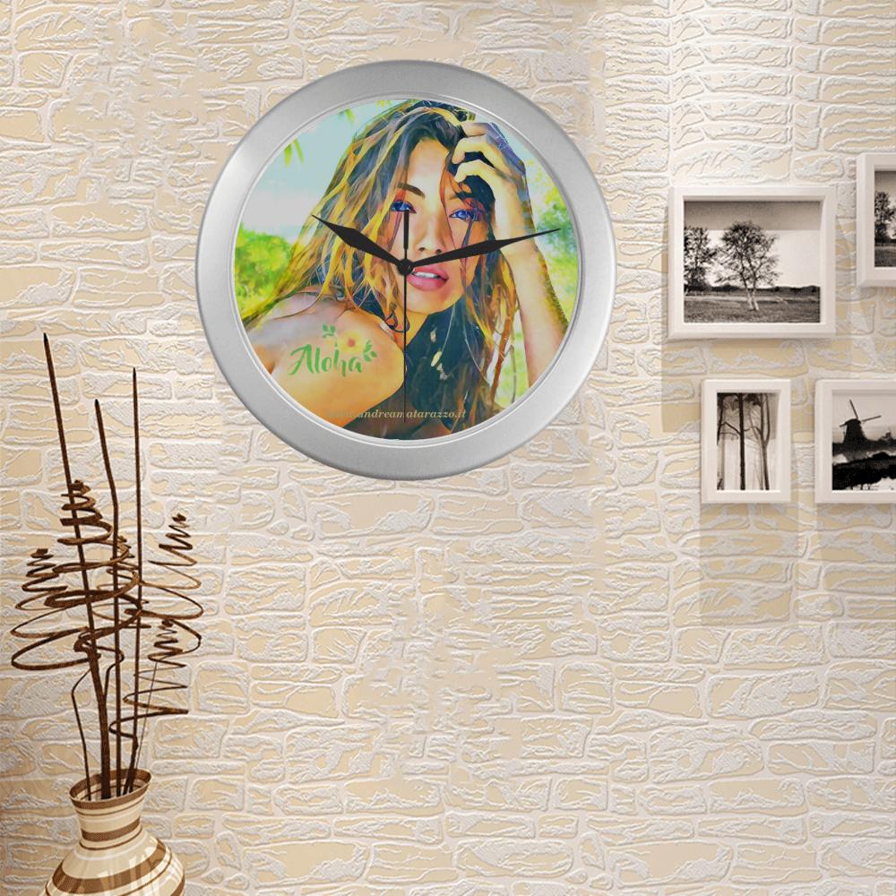Lorena Silver Color Wall Clock