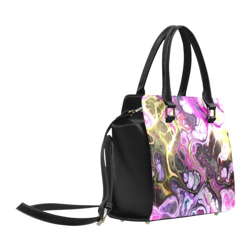 Colorful Marble Design Classic Shoulder Handbag (Model 1653)