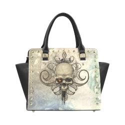 Creepy skull, vintage background Rivet Shoulder Handbag (Model 1645)