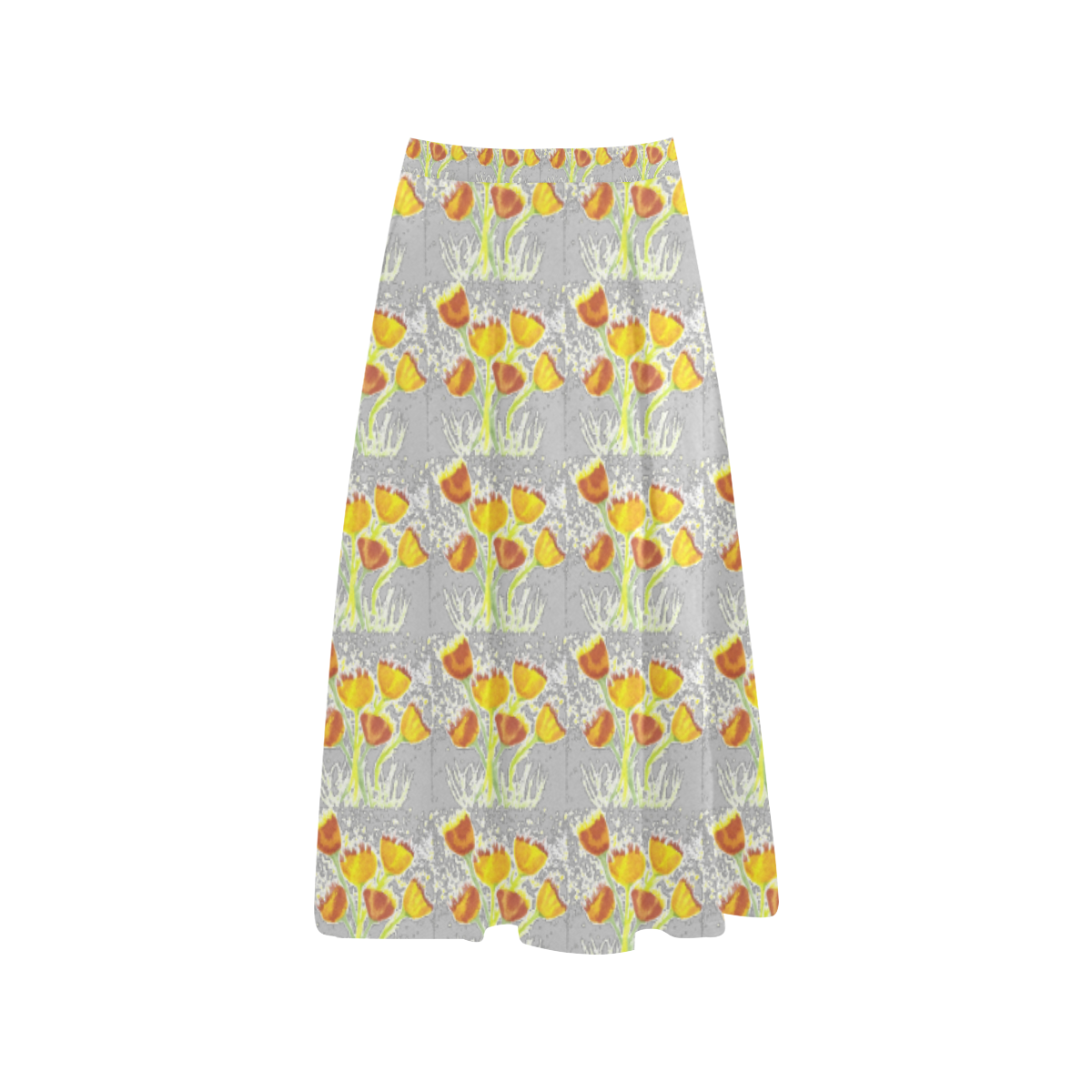 Stone Crepe Skirt With Yellow Poppies Aoede Crepe Skirt (Model D16)