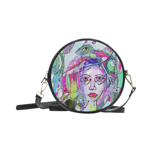 Abstract Girl Round Sling Bag (Model 1647)
