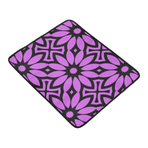 "Purple/Black Flowery Pattern Beach Mat 78""x 60"""