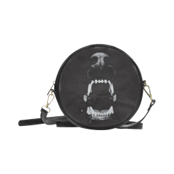 Gothic Hell Hound Leather Darkstar Round Sling Bag (Model 1647)
