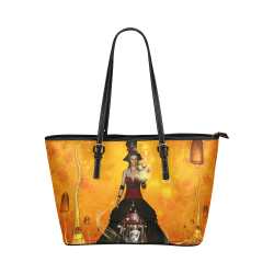 Fantasy women with carousel Leather Tote Bag/Large (Model 1651)