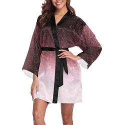 rose gold Glitter gradient Long Sleeve Kimono Robe