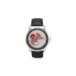 Red Sneakers Unisex Stainless Steel Leather Strap Watch(Model 202)