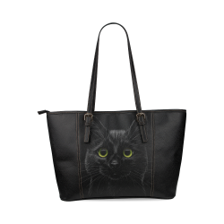 Black Cat Leather Tote Bag/Large (Model 1640)