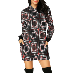 LIT Checkered (Black/White/Red) All Over Print Hoodie Mini Dress (Model H27)