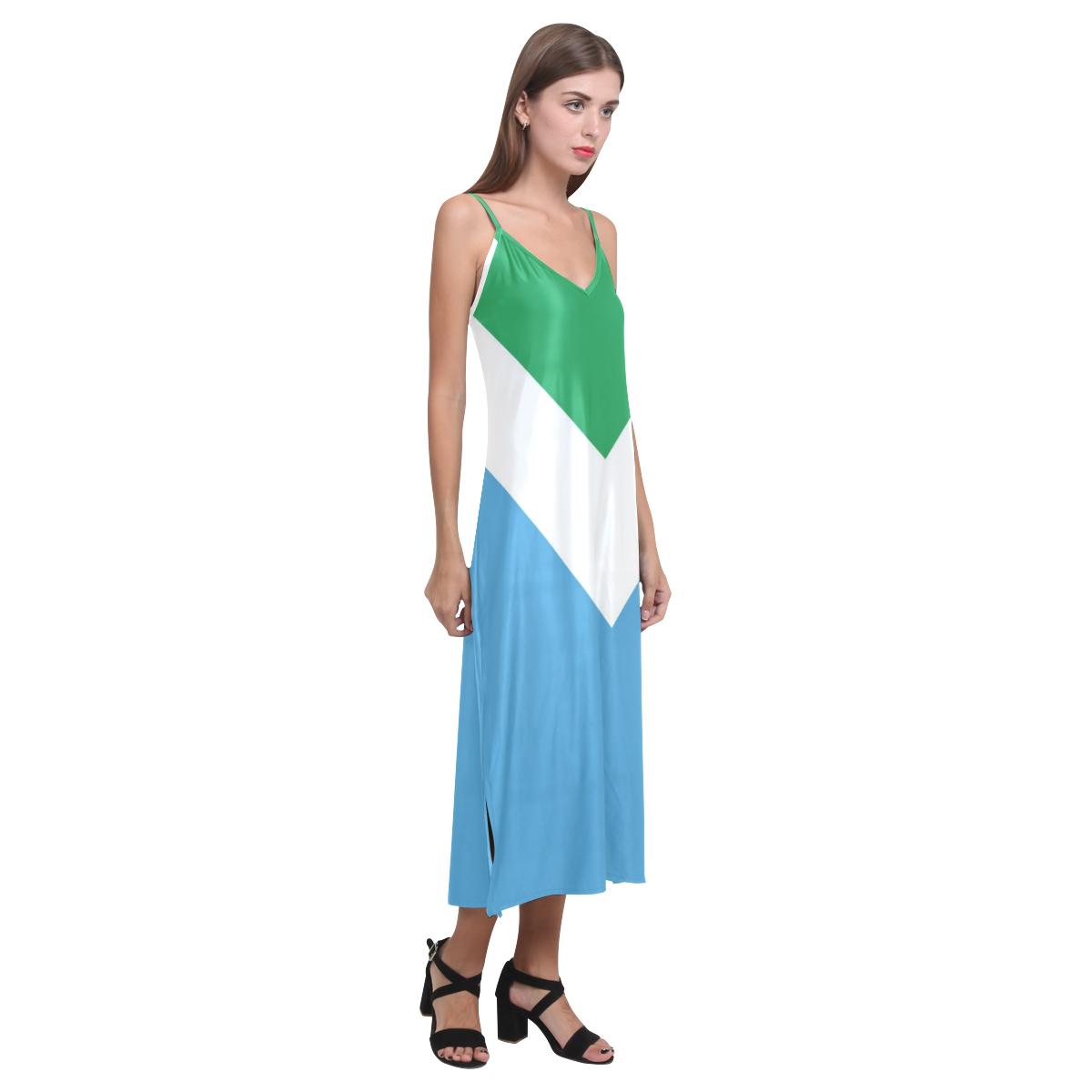 Vegan Flag V-Neck Open Fork Long Dress(Model D18)