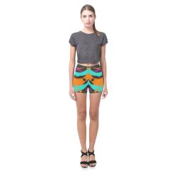 Blue orange black waves Briseis Skinny Shorts (Model L04)