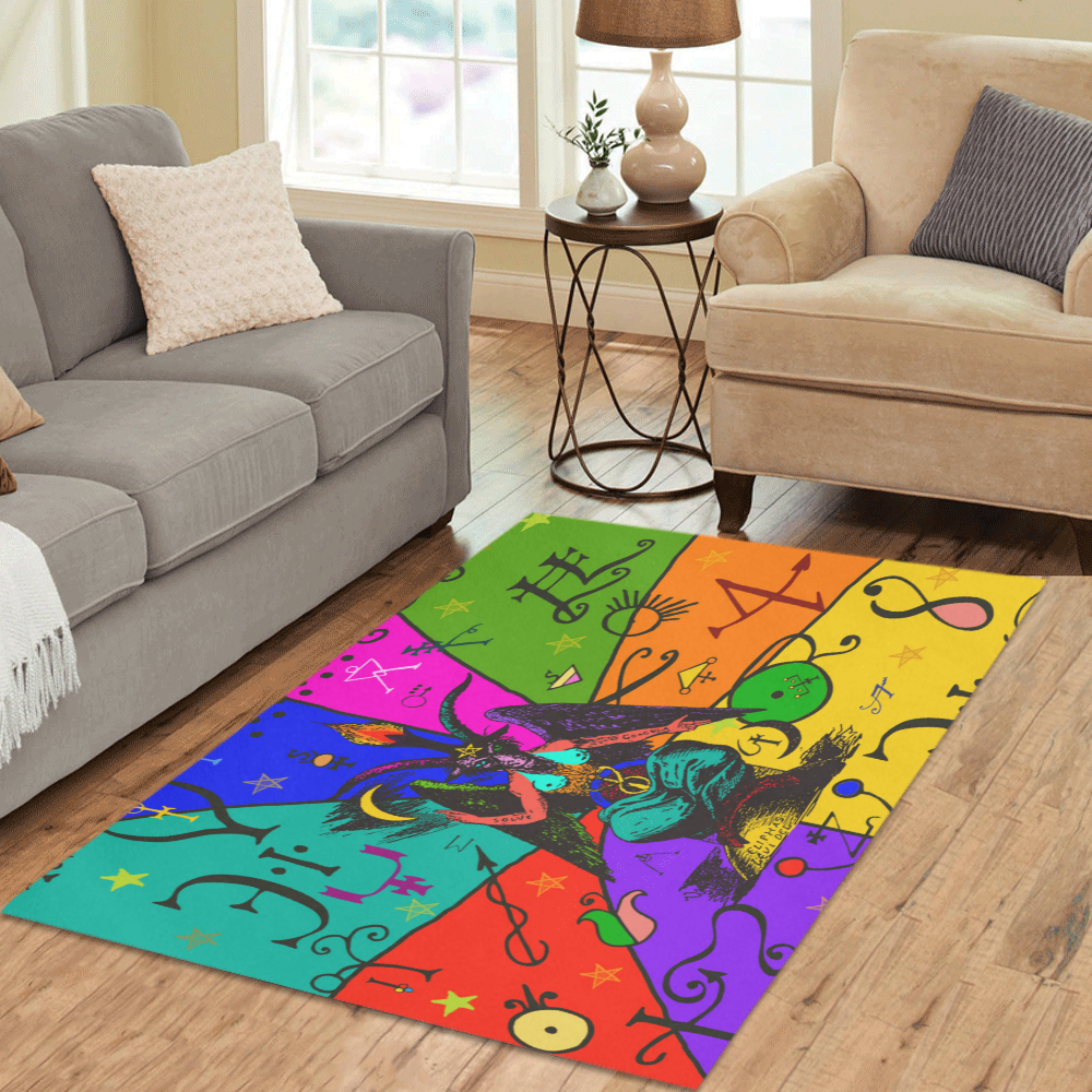Awesome Baphomet Popart Area Rug 5'3''x4'