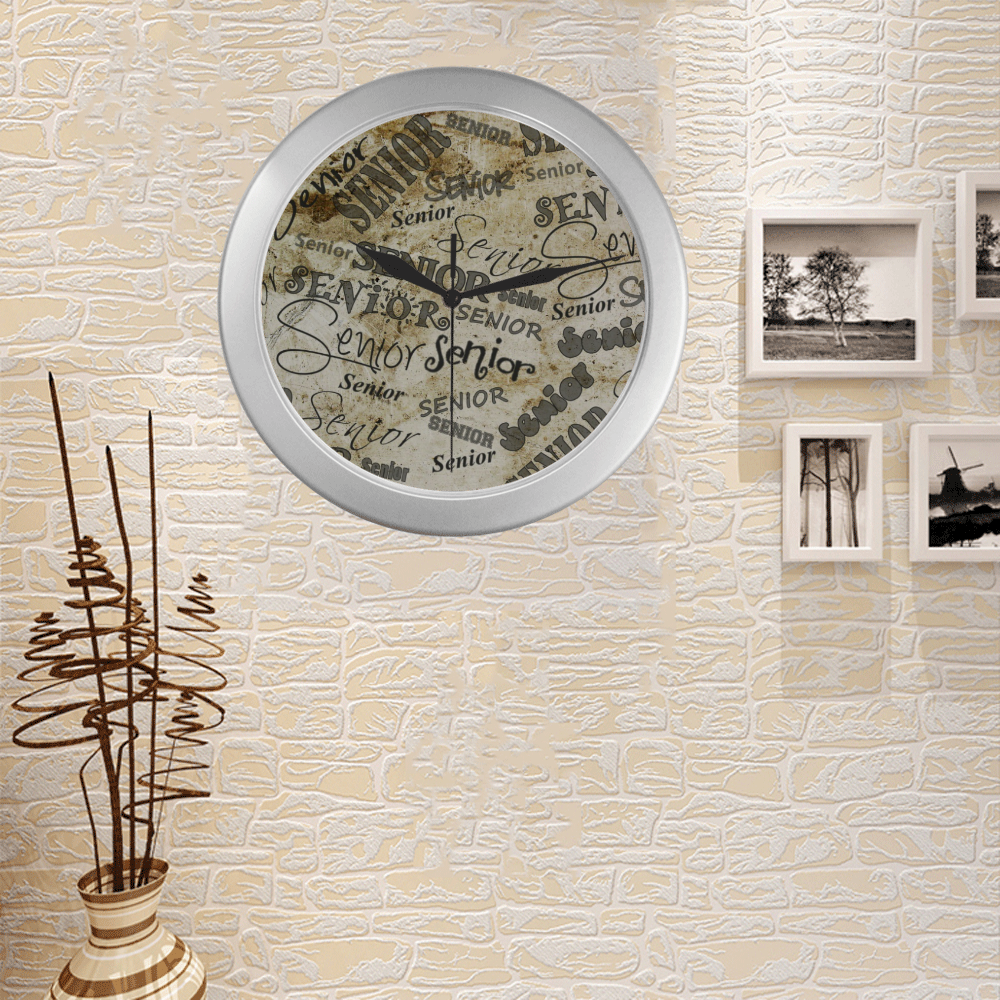 Silver Frame Wall Clock Classic Graphic Senior Text Wall Art Clock Silver Color Wall Clock