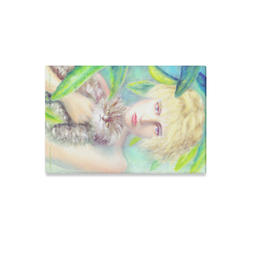 """Girl with a cat Canvas Print 12""""x18"""""""