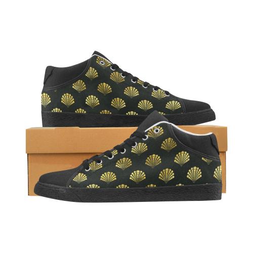 Wayden black and gold Men's Chukka Canvas Shoes (Model 003)