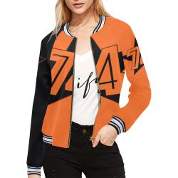 Dundealent 5 stars I Orange /Black R All Over Print Bomber Jacket for Women (Model H21)