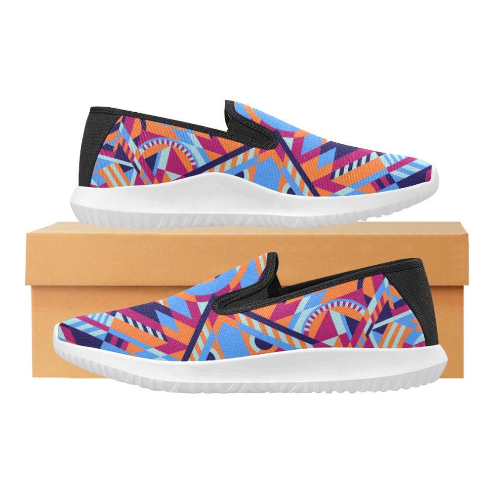 Modern Geometric Pattern Orion Slip-on Men's Canvas Sneakers (Model 042)