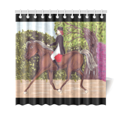 """Dressage Horse English Riding Painting Black Borders Shower Curtain Shower Curtain 69""""x70"""""""