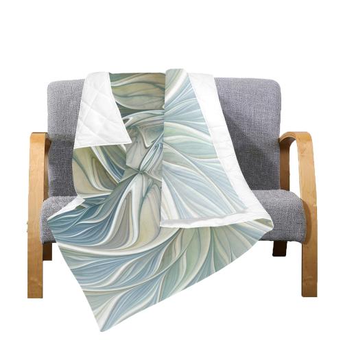 "Floral Fantasy Pattern Abstract Blue Khaki Fractal Art Quilt 60""x70"""