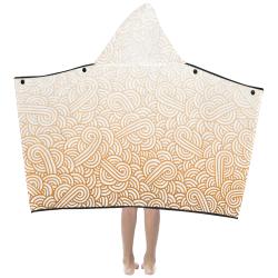 Gradient orange and white swirls doodles Kids' Hooded Bath Towels