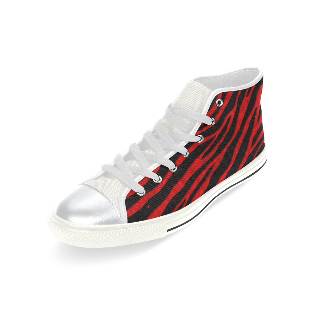 Ripped SpaceTime Stripes - Red High Top Canvas Women's Shoes/Large Size (Model 017)