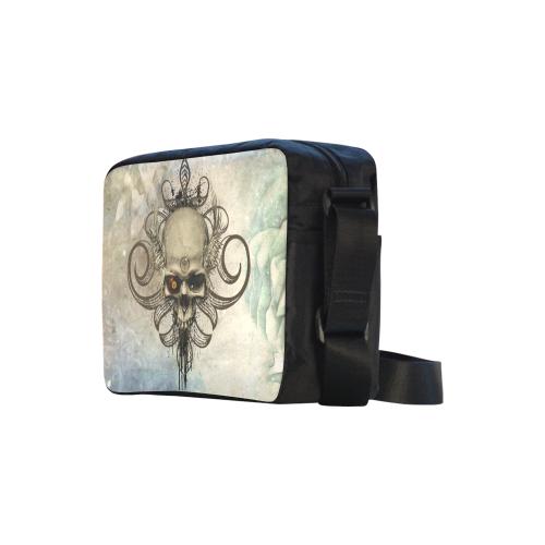 Creepy skull, vintage background Classic Cross-body Nylon Bags (Model 1632)