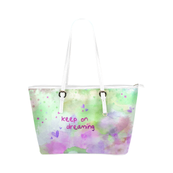 KEEP ON DREAMING - lilac and green Leather Tote Bag/Large (Model 1651)