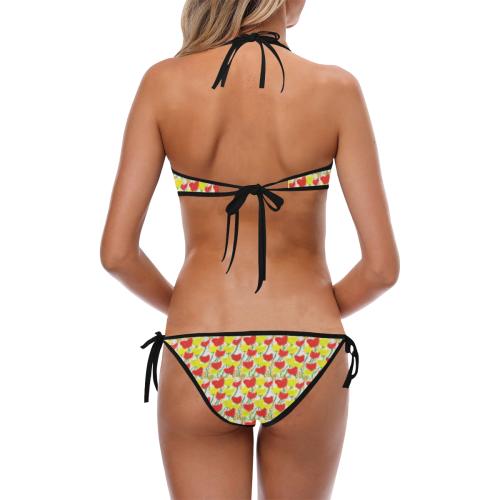 Red and yellow poppy design bikini Custom Halter & Side Tie Bikini Swimsuit (Model S06)
