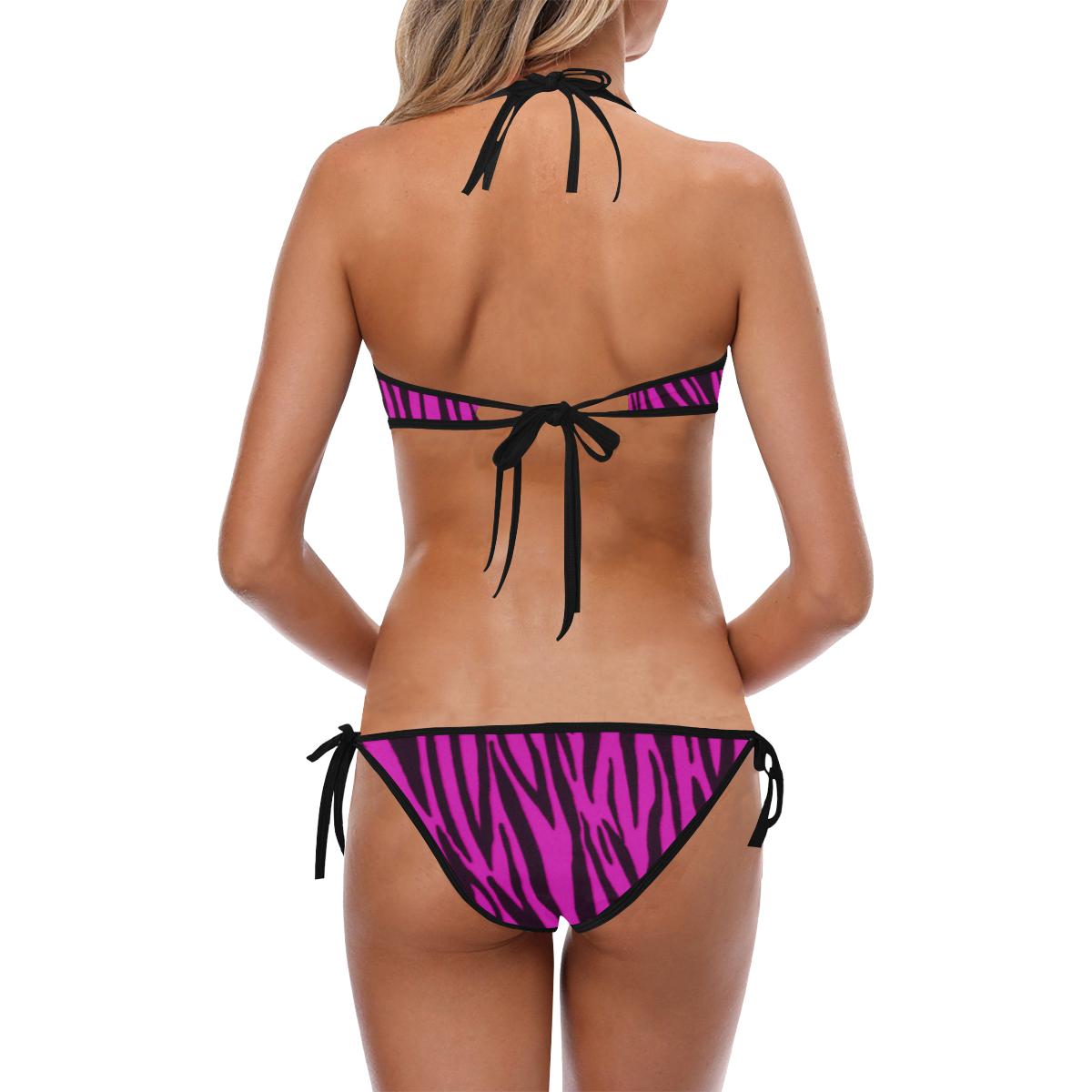 Pink Zebra Pattern Custom Halter & Side Tie Bikini Swimsuit (Model S06)