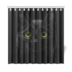 "Black Cat Shower Curtain 72""x72"""
