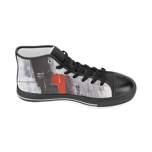 Black & red Women's Classic High Top Canvas Shoes (Model 017)