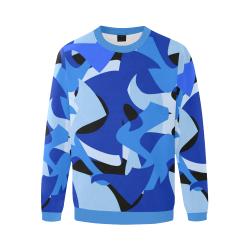 Camouflage Abstract Blue and Black Men's Oversized Fleece Crew Sweatshirt (Model H18)