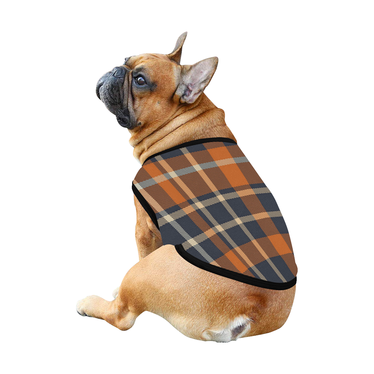 Blue Orange Plaid All Over Print Pet Tank Top