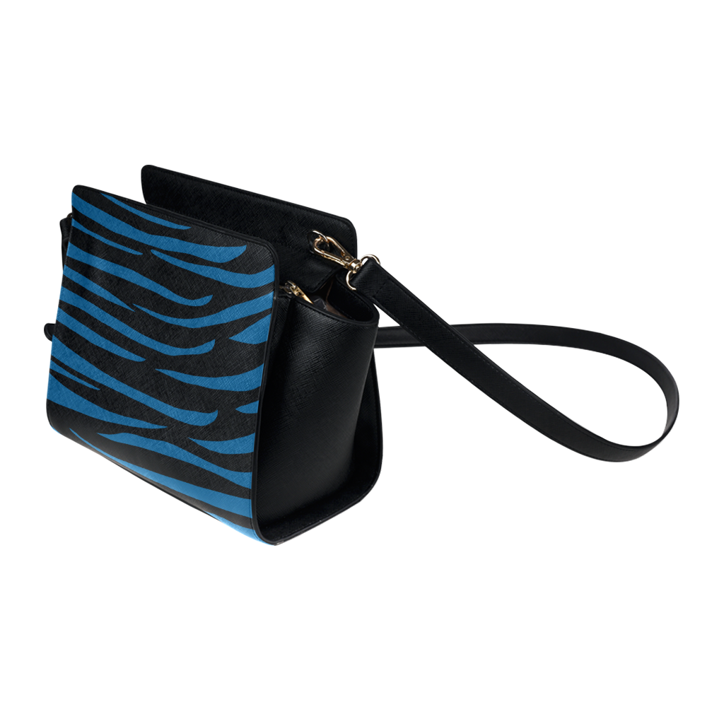 Tiger Stripes Black and Classic Blue Satchel Bag (Model 1635)