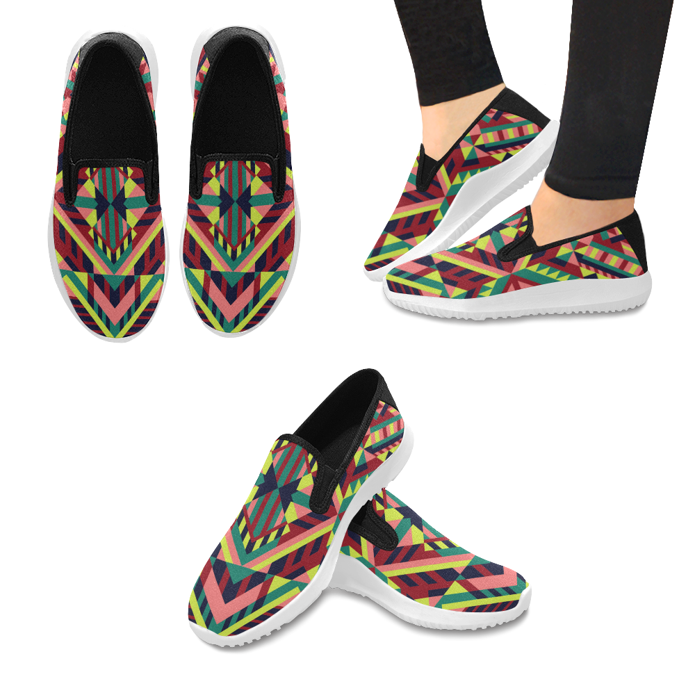 Modern Geometric Pattern Orion Slip-on Women's Canvas Sneakers (Model 042)