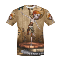 Steampunk girl, clocks and gears All Over Print T-Shirt for Men (USA Size) (Model T40)