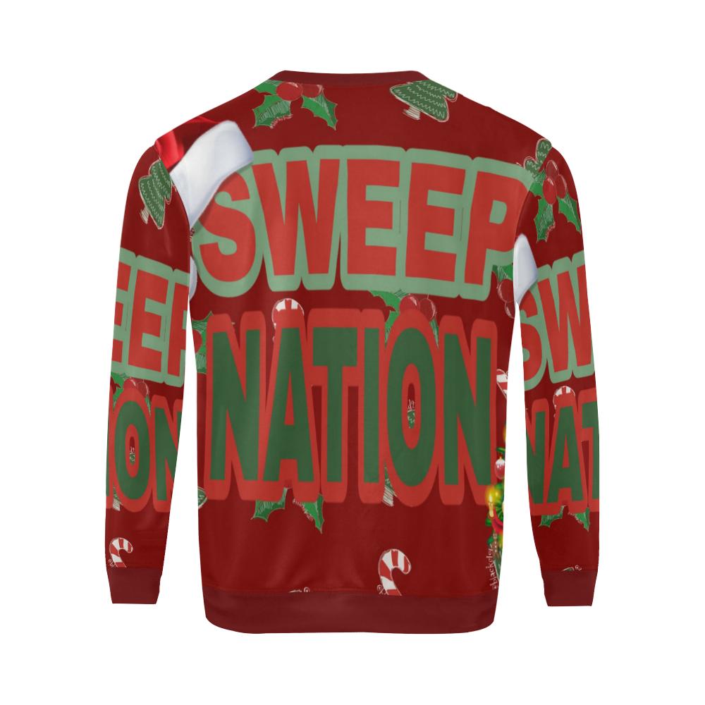 Sweep Nation - Christmas All Over Print Crewneck Sweatshirt for Men/Large (Model H18)
