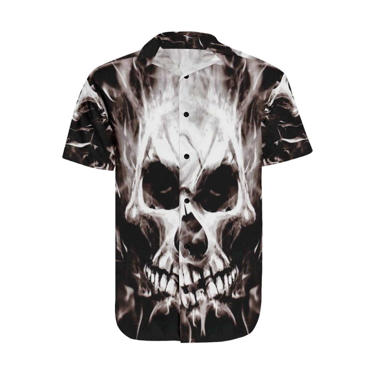 Gothic Skulls Satin Dress Shirt Men's Short Sleeve Shirt with Lapel Collar (Model T54)