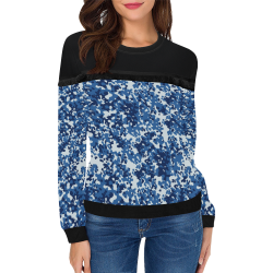 Digital Blue Camouflage Women's Fringe Detail Sweatshirt (Model H28)
