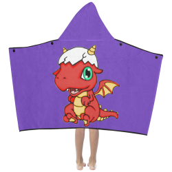 Baby Red Dragon Purple Kids' Hooded Bath Towels