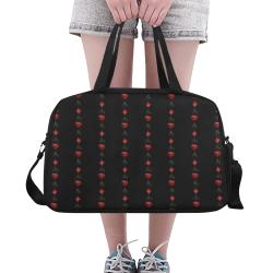 Las Vegas Black and Red Casino Poker Card Shapes on Black Fitness Handbag (Model 1671)