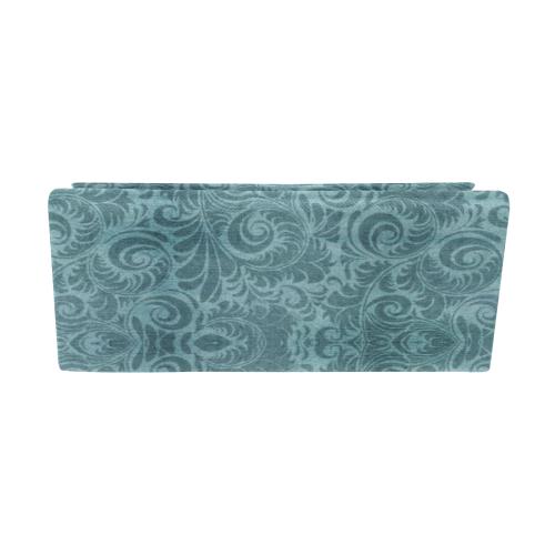 Denim with vintage floral pattern, turquoise teal Custom Foldable Glasses Case