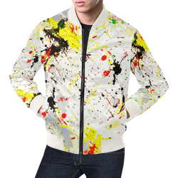 Yellow & Black Paint Splatter (White Trim) All Over Print Bomber Jacket for Men (Model H19)