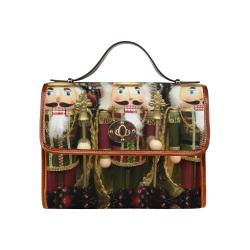 Golden Christmas Nutcrackers Waterproof Canvas Bag/All Over Print (Model 1641)