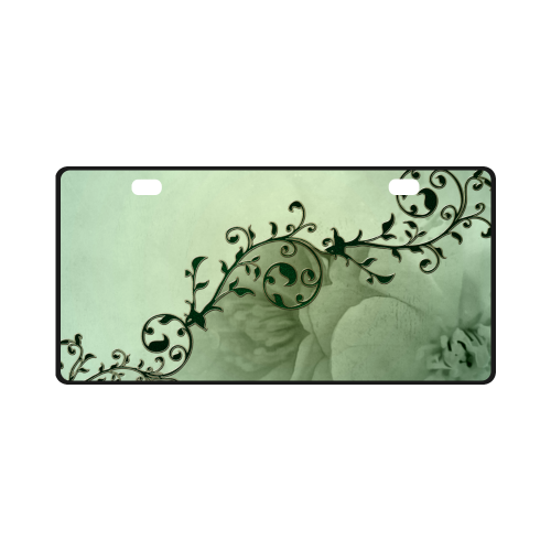 Wonderful flowers, soft green colors License Plate