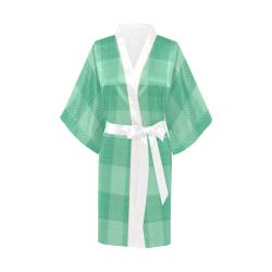 Mint Green Plaid Kimono Robe