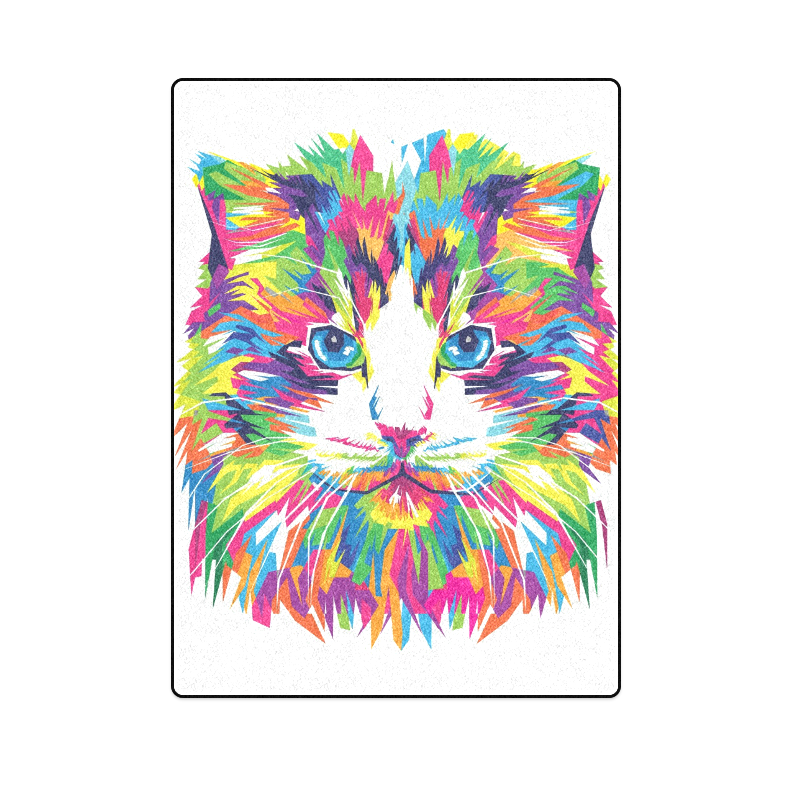 "Rainbow Cat Blanket 58""x80"""