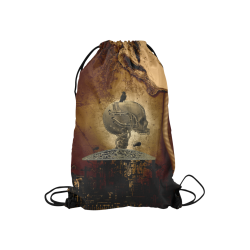 "Mechanical skull Small Drawstring Bag Model 1604 (Twin Sides) 11""(W) * 17.7""(H)"