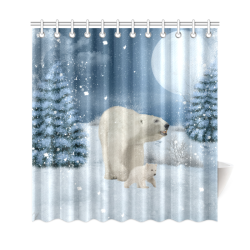 "Polar bear mum with polar bear cub Shower Curtain 69""x72"""