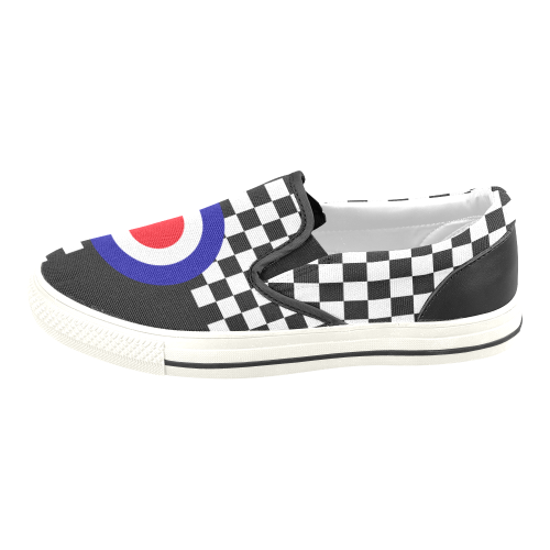 Target and 2Tone Checks by ArtformDesigns Men's Slip-on Canvas Shoes (Model 019)
