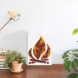 """Flaming Campfire Photo Panel for Tabletop Display 6""""x8"""""""